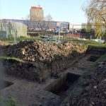 Archaeological dig site in Grimsby