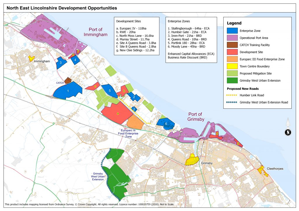 North East Lincolnshire Development Opportunities. This contains information on various zones around North East lincolnshire for potential future development and enterprise sites.