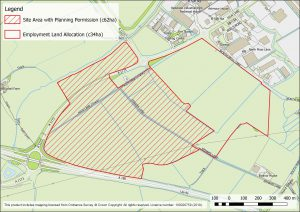 Map of land at Stallingborough Business Park with planning permission
