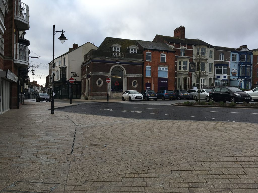 Sea View Street showing new paving and car park