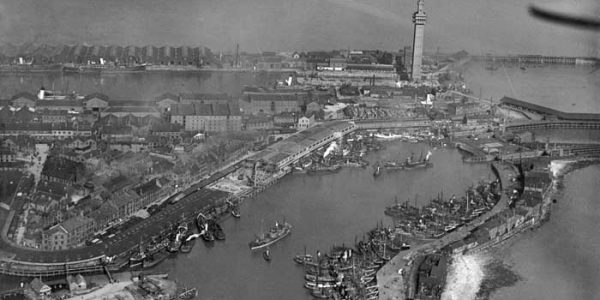 Aerial View of Grimsby docks from the Historic England Archive