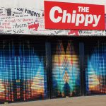 Artwork on the shutters of The Chippy