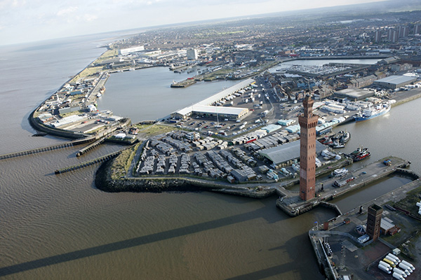 Air view of Grimsby docks which shows the dock tower fish market royal dock basin and the north wall