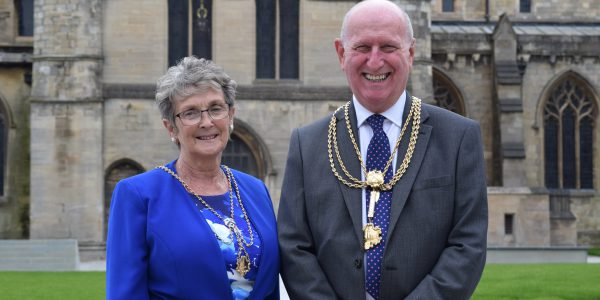 Mayor of North East Lincolnshire, Cllr David Hasthorpe and Madam Mayoress at St James Square